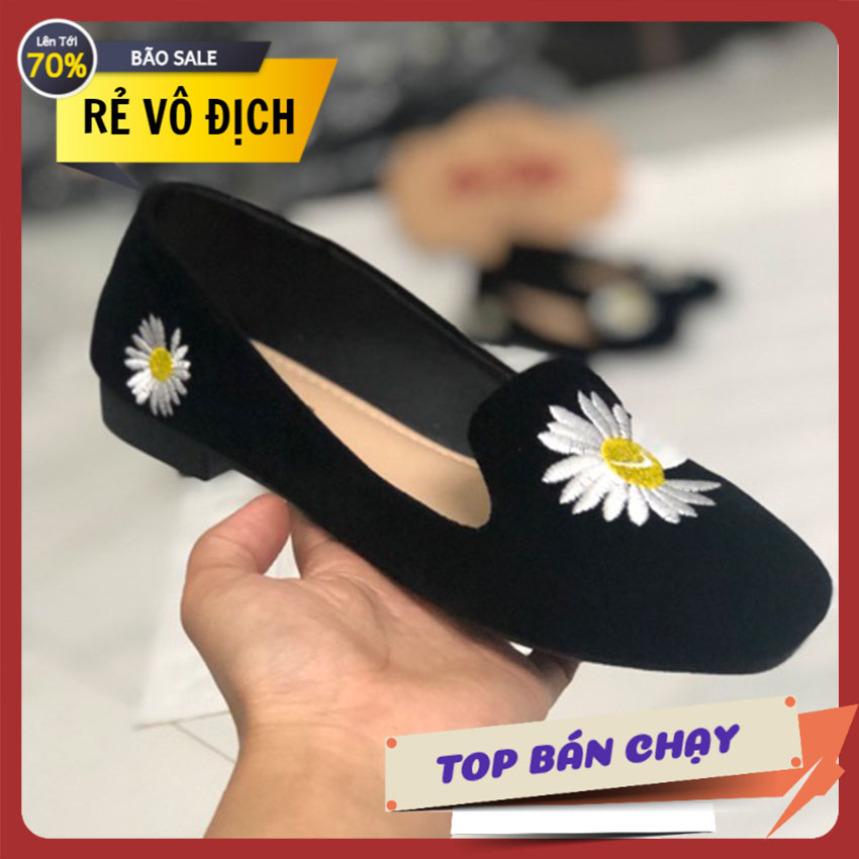 Giày nữ đế bệt vải nhung thêu hoa cúc giày lười nữ giày mọi giày nữ giày xăng đan nữ giày nữ giá rẻ giá rẻ