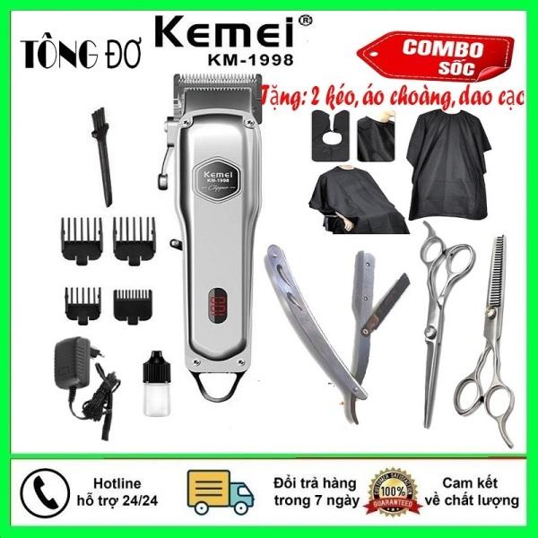 Máy Cắt Tóc, May Hot Toc, Tăng Đơ, Tông Đơ Cắt Tóc Kemei -Tông đơ cắt tóc cao cấp Kemei 1998 thân nhôm nguyên khối, tăng đơ hớt tóc (tong do cat toc) chuyên nghiệp không dây sạc pin + Tặng 2 kéo cắt tỉa tóc chuyên dụng