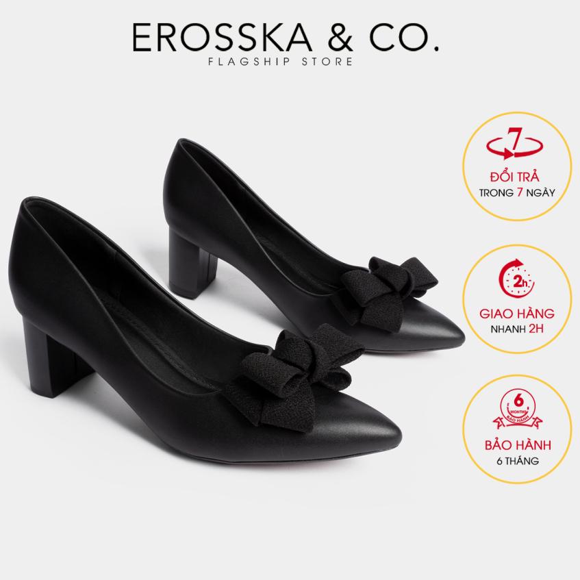Giày cao gót Erosska thời trang mũi nhọn đính nơ điệu đà kiểu dáng cơ bản cao 5cm EP005 (BA) giá rẻ