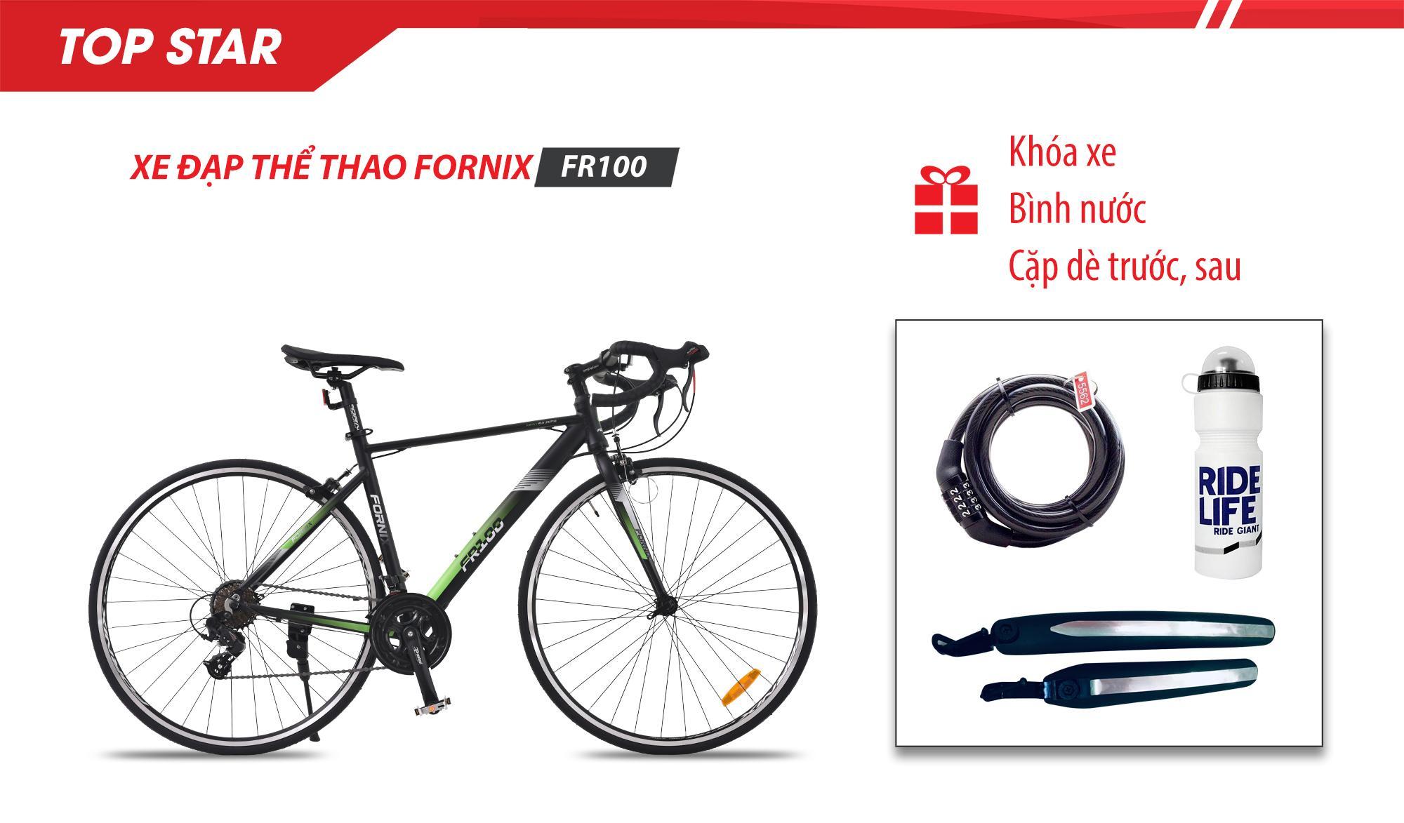 Mua Xe đạp thể thao FR100- Vòng bánh 700C- Bảo hành 12 tháng + (gift) Khóa xe, Bình nước, Cặp dè