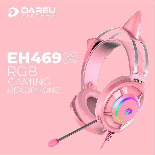Bảng giá Tai Nghe Mèo Màu Hồng Dareu Eh469 - Tai Nghe Gaming 7.1 Led Rgb Màu - Pink Phong Vũ