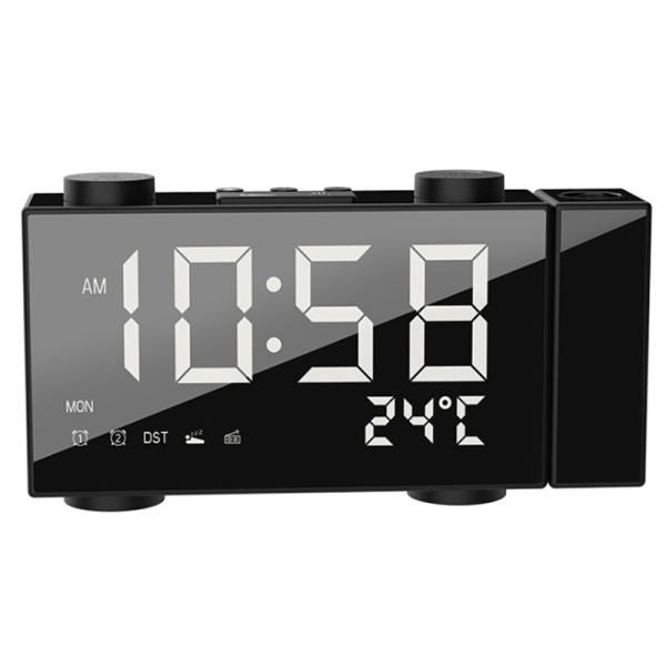Projection Clock Digital Alarm Clock with Snooze Function Thermometer 87.5-108 MHz FM Radio USB/Batterys Power Table LED Clock bán chạy