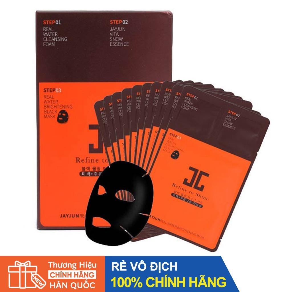 Mặt nạ giấy 3 bước dưỡng chuyên sâu JAYJUN Real Water Brightening Black Mask cao cấp