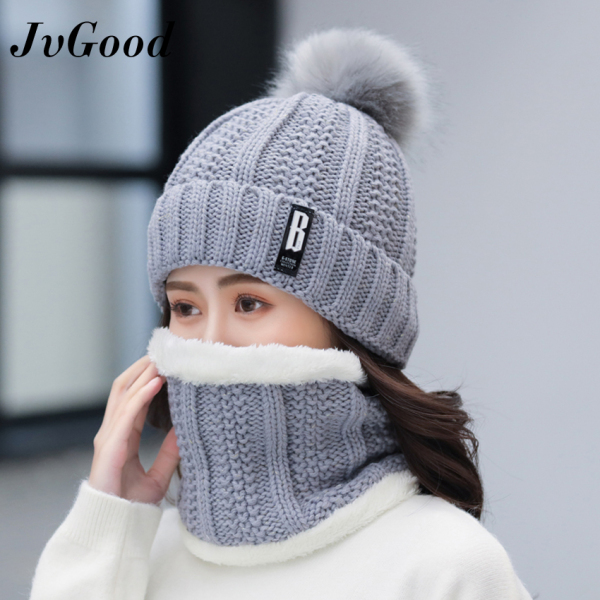 JvGood 2 PCS Women Knitted Hats Winter Warm Hat Cap Beanie Caps Thickened Scarf Bonnet Hairball Knit Hat