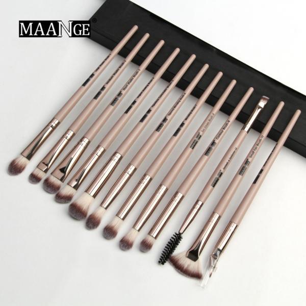 Bộ cọ trang điểm 12 cái Maange mới màu đen được làm chất liệu nhựa và tóc tổng hợp chất lượng cao an toàn không gây độc hại - INTL