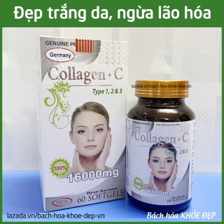 Viên uống đẹp da Collagen +C Type 123 giảm thâm nám tàn nhang, ngừa nếp nhăn, chống lão hóa - Hộp 60 viên thumbnail