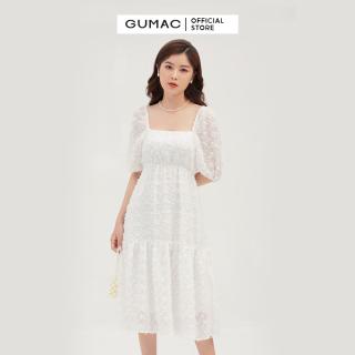 [CHỈ 22.8 GIẢM 15K CHO ĐƠN 150K] Váy đầm nữ đẹp thiết kế cổ vuông quyến rũ dáng babydoll nhún eo trẻ trung thời trang GUMAC mẫu mới DB3101 chất liệu Tơ cao cấp thoải mái thumbnail