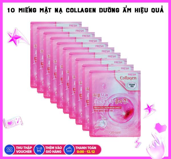 Bộ 10 Miếng Mặt Nạ Tái Tạo Da Từ Collagen 3w Clinic Fresh Collagen Mask Sheet 100% Cotton 23ml x10 giá rẻ