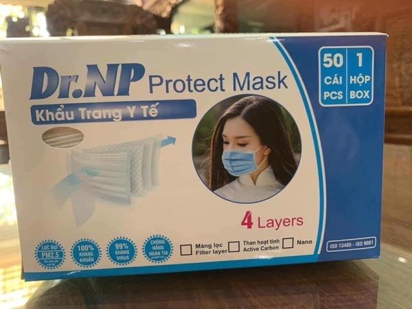 Khẩu trang y tế kháng khuẩn 4 lớp Dr. NP  - Xanh 1 hộp - 50 cái