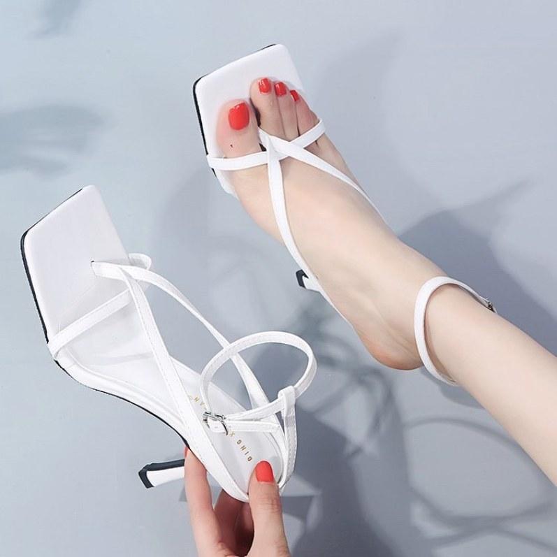 Sandal giày cao gót siêu hot cao 7cm TRẮNG - 208 giá rẻ
