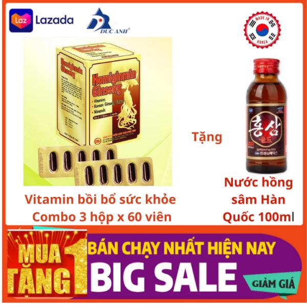 Combo 3 hộp Thực phẩm bảo vệ sức khỏe -Homiginmin Ginseng - Cao Nhân Sâm Triều Tiên và Các Vitamin Khoáng Chất - Vitamin tổng Hợp - Viên Bổ tổng Hợp