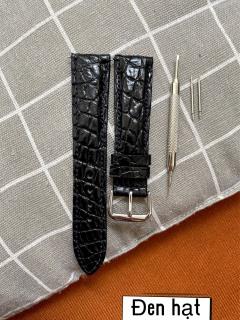 Dây đồng hồ da cá sấu,KHÓA BẠC ( CÓ KHÓA VÀNG + 7k ) , phát hiện giả ĐỀN 10 LẦN TIỀN,TẶNG KÈM cây tháo lắp dây, dây đồng hồ da cá sấu nam, dây đồng hồ da cá sấu nữ [ TT ] thumbnail