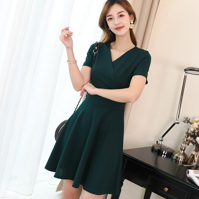 Caidaifei 2019 Spring And Summer New Style Korean Style Fashion Large Size Versatile Solid Color Trend Slimming Leisure Dress Female
