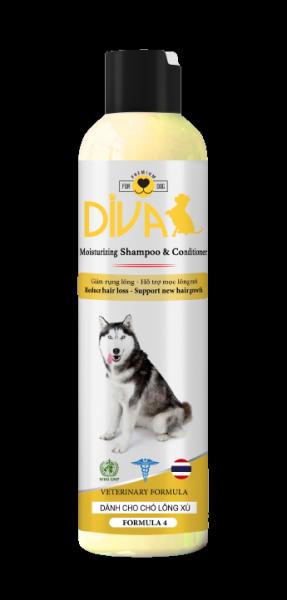 Sữa tắm chó dưỡng lông giảm rụng DIVA Vàng 260 ml