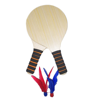 Oak Ping Pong Paddle with Two Shuttlecock Attached Thicken Solid Wood Board Wood Grain Board Fitness Shuttlecock Racket thumbnail