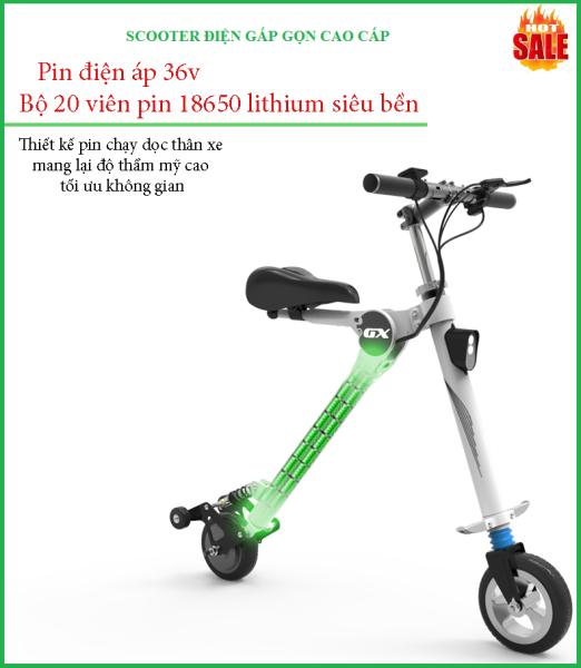 Mua (KÈM ẢNH THẬT)  Xe scooter điện xếp gọn Bremer GX-04 36v/5.2A tải 150kg/18km.h, xe điện du lịch gấp gọn tải trọng 150kg thích hợp dã ngoại, đi chơi, đi làm, đi học, xe scooter điện người lớn