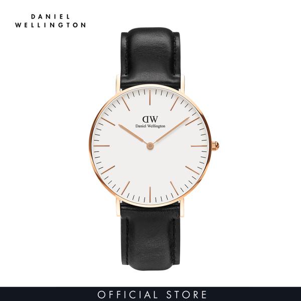 Đồng hồ Nam, Nữ Daniel Wellington dây da - Classic mặt trắng - vỏ vàng hồng bán chạy