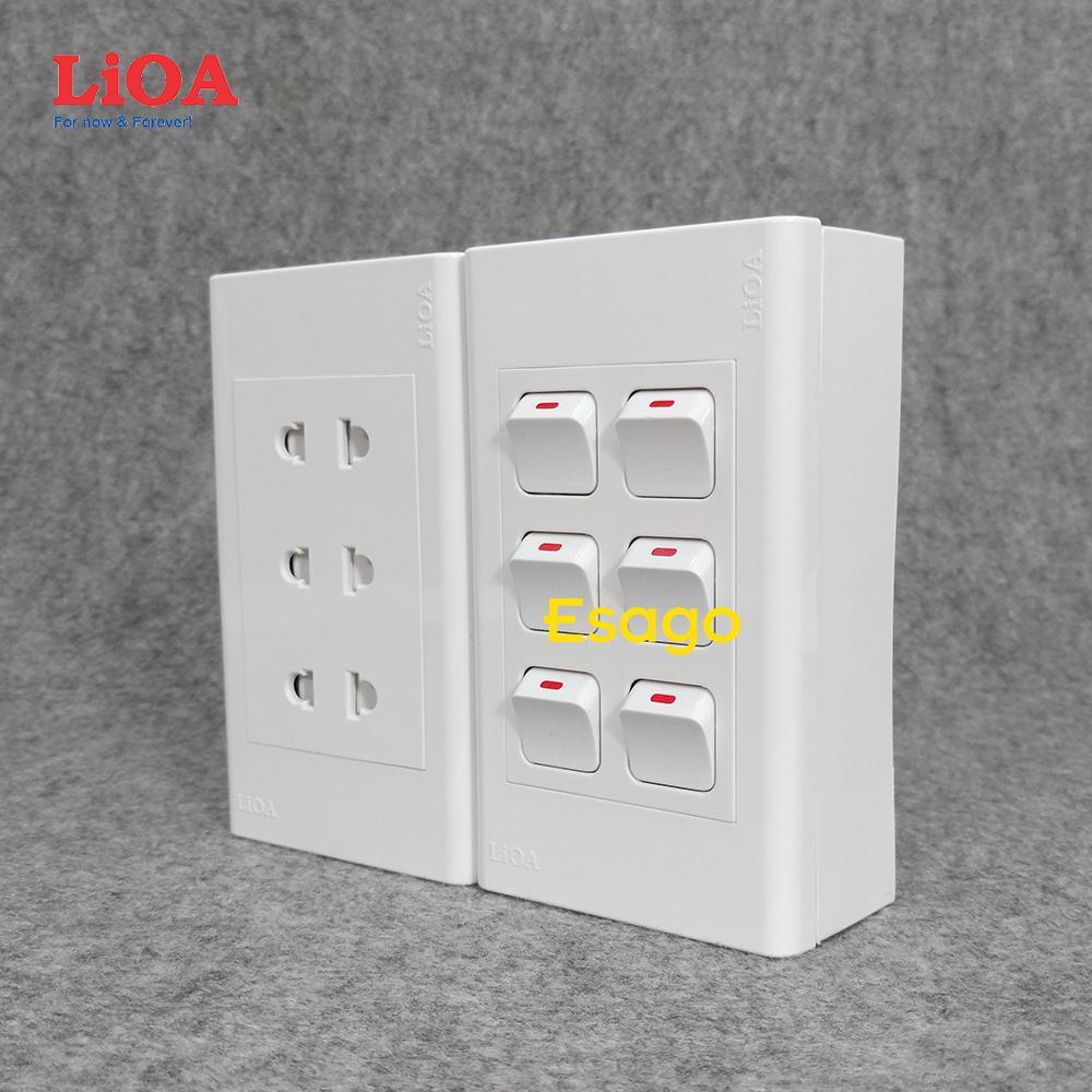 Combo ổ cắm điện ba 2 chấu 16A (3520W) + 6 công tắc điện LiOA - Lắp nổi