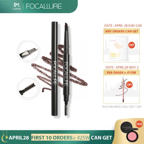 Bút chì kẻ lông mày FOCALLURE không thấm nước bền màu lâu trôi với 3 màu tùy chọn có đầu chải lông màu tiện dụng - INTL