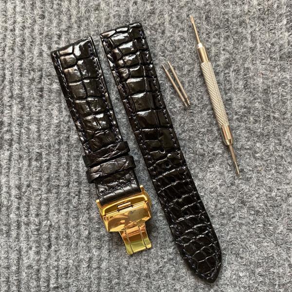 1. Dây đồng hồ DA CÁ SẤU [ DA THẬT 100% ] Vân Hạt [ Màu Đen và Màu NÂU ĐẤT ] ,TẶNG CÂY THÁO LẮP và 2 chốt, SIZE từ 12mm đến 24mm