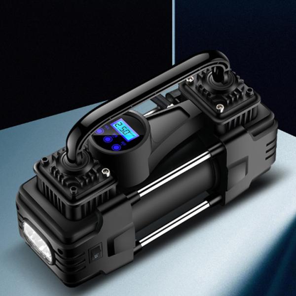 Máy bơm lốp ô tô, máy bơm lốp xe hơi BEDE 12v/24v, 2 xy lanh, màn hình led hiển thị thông số áp lực, dây nguồn dài 2.8m, tích hợp đèn pin trợ sáng - TẶNG DÂY ĐẤU ẮC QUY VÀ TÚI ĐỰNG