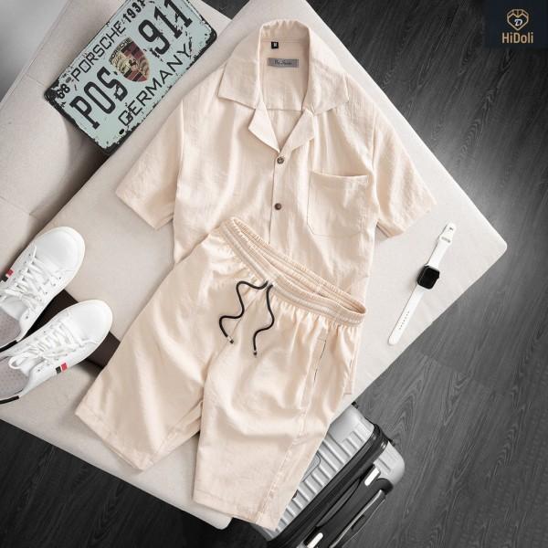Nơi bán Bộ quần áo đũi nam cài cúc cổ bẻ, bộ đũi nam chất vải đũi thoáng mát thấm hút mồ hôi - B02
