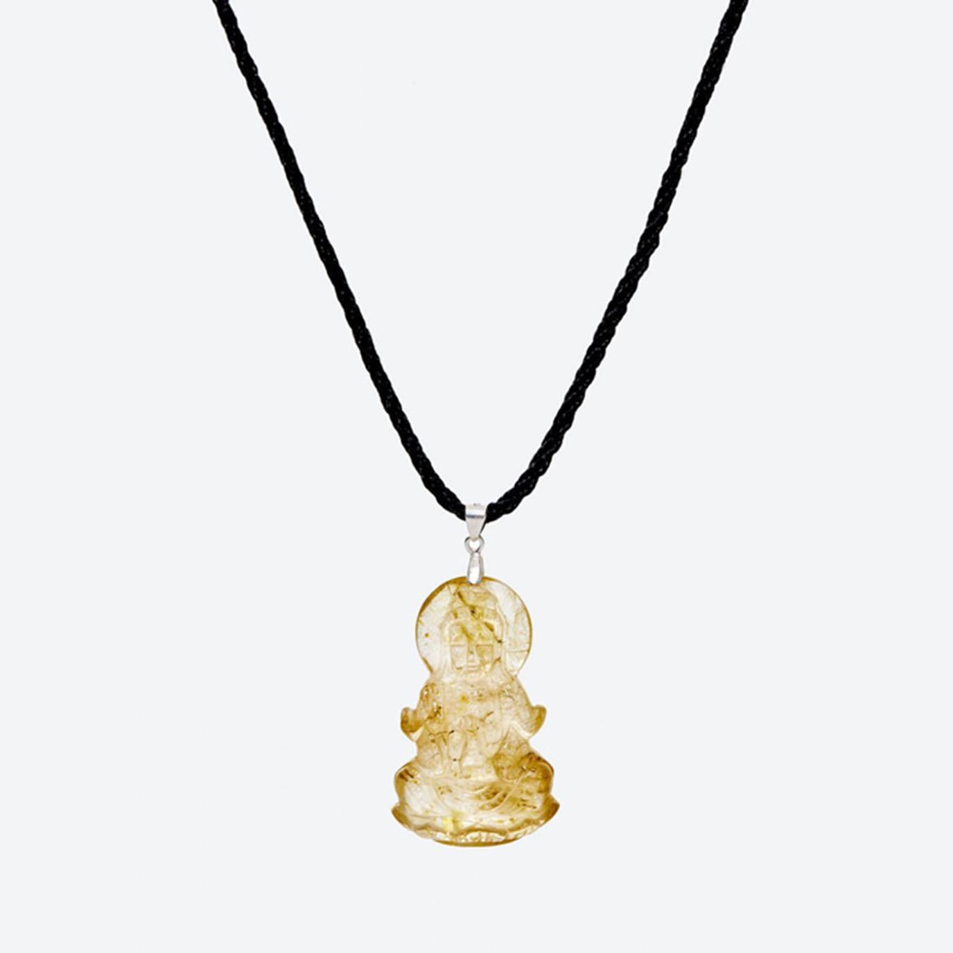 Mặt dây chuyền đá thạch anh tóc vàng phật bà quan âm mệnh thủy,kim (màu vàng) - Ngọc Quý Gemstones