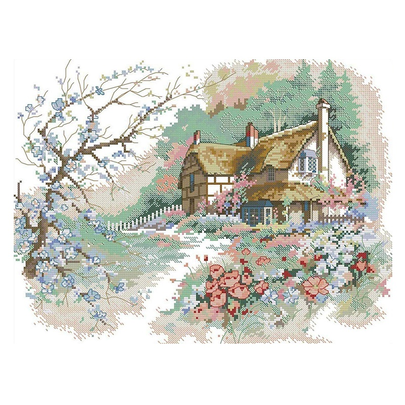 Printed Cross Stitch Kits 11CT 21.6 x 17.3 Inch Cotton Holiday Gift DIY Embroidery Starter Kits Easy Patterns Embroidery for Girls Crafts Stamped Cross-Stitch Supplies Needlework