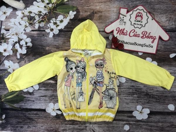 Giá bán Áo khoác cho bé gái chất dù lót 100% cotton mềm mại, bé mặc không nóng, mẫu có nón, thiết kế tay và nón họa tiết rằn ri phong cách, size 10-24kg