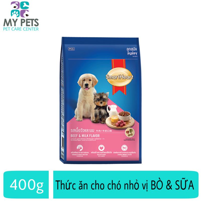 Thức ăn dành cho chó nhỏ vị bò nướng và sữa - Smartheart Puppy gói 400g Cung cấp dinh dưỡng tăng cường hệ miễn dịch