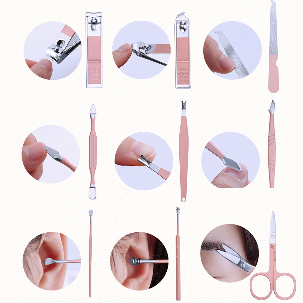 Bộ cắt móng tay đa dụng 18 món, đầy đủ các phụ kiện chăm sóc cho cả gia  đình, vỏ da ( màu hồng),dụng cụ làm móng, Bộ làm móng 18 món |