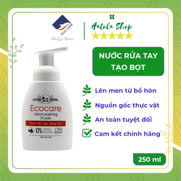 Nước Rửa Tay tạo bọt hữu cơ Ecocare 250ml, đạt chứng nhận diệt khuẩn 100%, Nước rửa tay diệt khuẩn tinh dầu tự nhiên thương hiệu Ecocare, sử dụng công nghệ lên men bồ hòn, được kiểm định bởi Anh Quốc giá rẻ