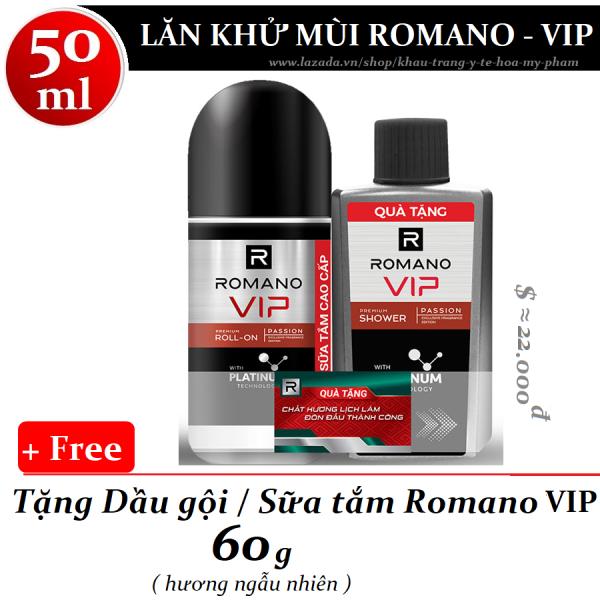 Romano - Lăn khử mùi Vip Passion mạnh mẽ bí ẩn 50 ml + Tặng dầu gội / sữa tắm 60 g