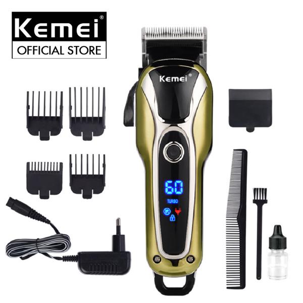 Tông đơ cắt tóc 2 mức tốc độ Kemei KM-1990 màn hình LCD thông minh hiện thị pin,khóa nguồn,tốc độ... tông đơ cắt tóc dành cho gia đình và salon nhập khẩu