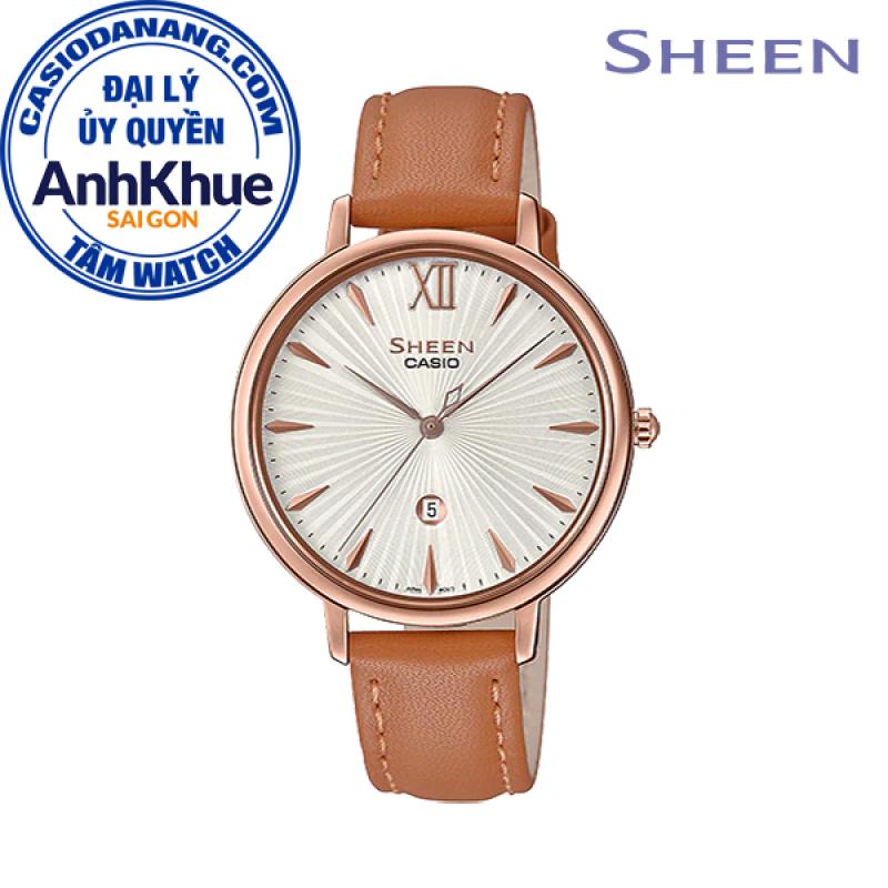 Đồng hồ nữ dây da Casio Sheen chính hãng Anh Khuê SHE-4534PGL-7AUDF (34mm)