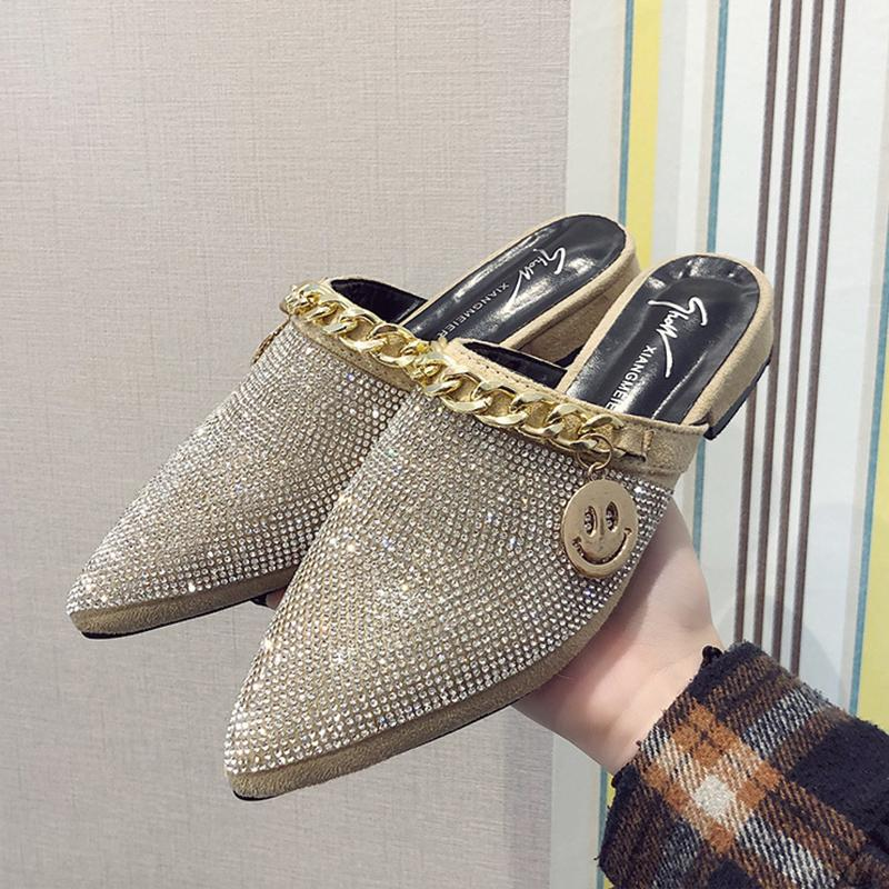 aaf88b3c2efa Online Celebrity Semi-Trailing Shoes women 2019 Spring New Style Pointed  Man-made Diamond