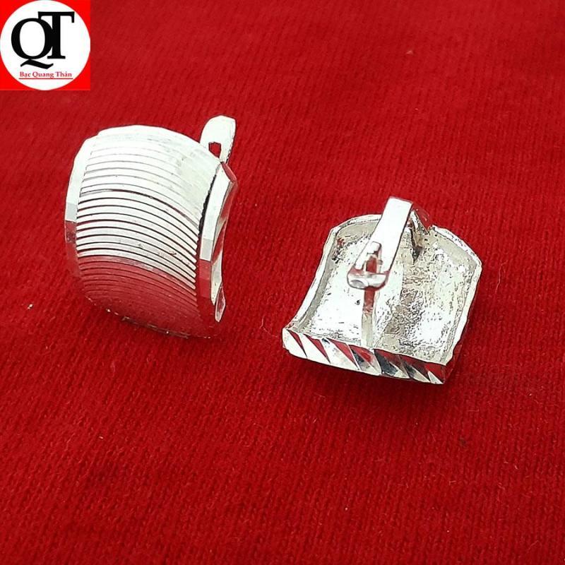 Bông tai nữ Bạc Quang Thản, khuyên tai nữ dáng tròn đeo sát tai bản mo hay sáng bóng chất liệu bạc thật không xi mạ, không gỉ, không  gây kích ứng da, dễ kết hợp trang phục, thích hợp với độ tuổi trung niên  - QTBT13