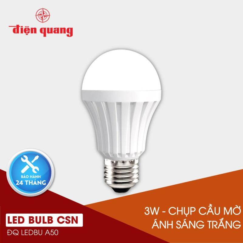 Đèn LED bulb thân nhựa Điện Quang ĐQ LEDBUA50 03765 (3W daylight chụp cầu mờ)