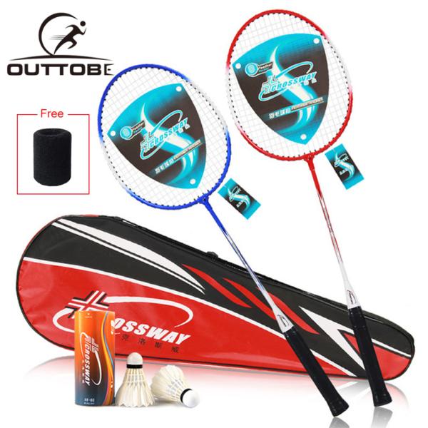 Outtobe Bộ vợt cầu lông 2 cái chuyên nghiệp bằng sợi carbon bao gồm vợt căng thẳng với 2 quả cầu và túi đựng cho người mới bắt đầu - INTL