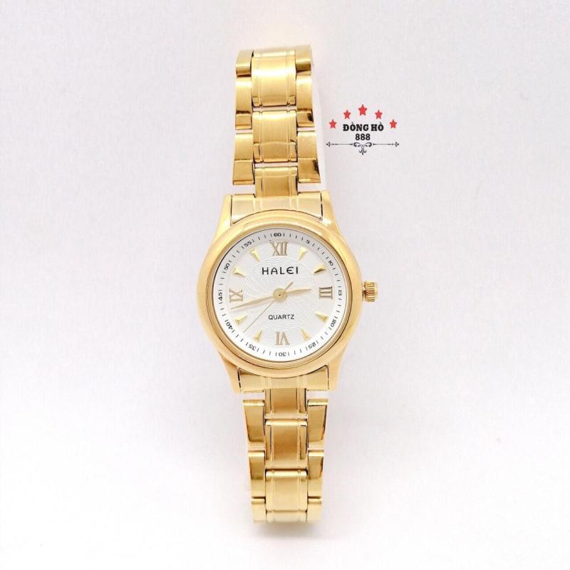 Đồng hồ nữ HALEI dây kim loại thời thượng ( HL489 dây vàng mặt trắng ) - TẶNG 1 vòng tỳ hưu phong thuỷ