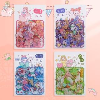 Set 40 miếng sticker hoạt hình cô bé xinh xắn trang trí sổ tay lưu bút, Bộ 40 hình cartoon sticker dán sổ lưu niệm thumbnail