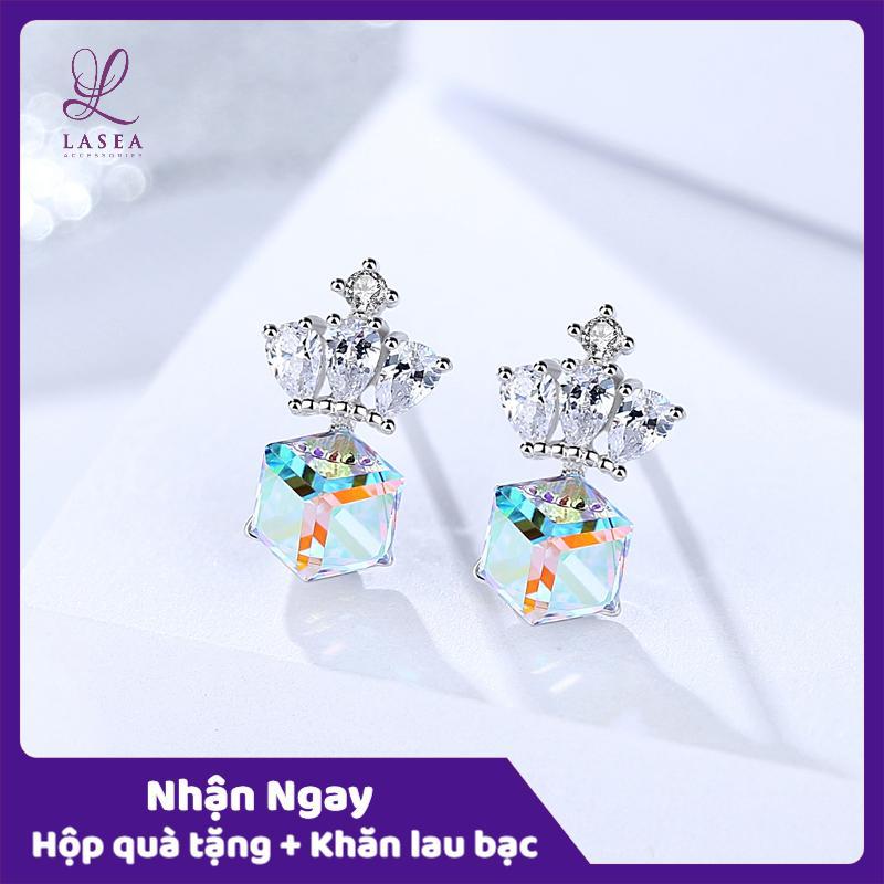 Bông tai nữ trang sức bạc Ý S925 Lasea - Hoa tai đính đá hình vương miện ( Xanh Ngọc ) E1522