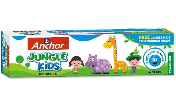 Kem đánh răng trẻ em Anchor Jungle Kids 50g Vị Singum (Tặng kèm bàn chải)