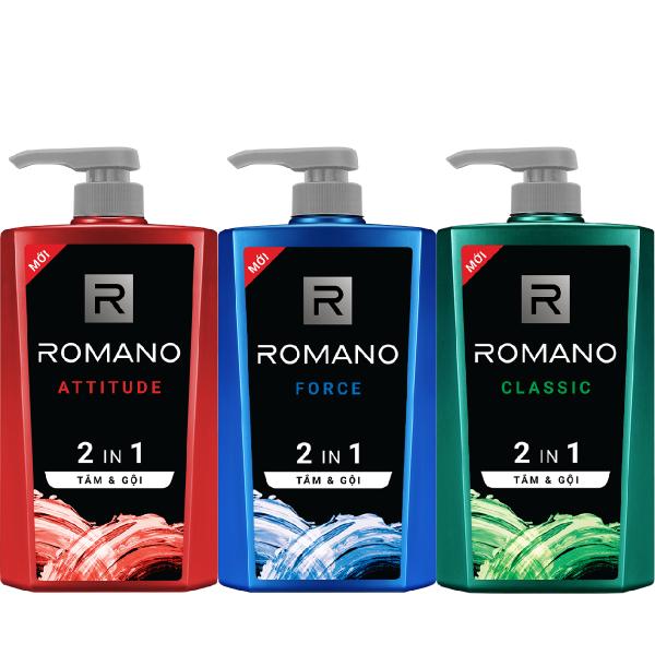 Tắm gội 2 trong 1 cho nam Romano sạch thơm tóc chắc khỏe 650gr cao cấp
