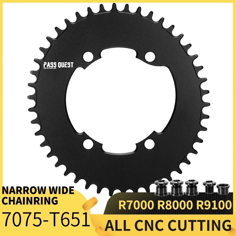 Phân phối PASS QUEST R9100 OVAL Road Bike Chain Crankshaft Closed disk 110BCD 58T Narrow Wide Chainring For R7000/R8000/DA9100