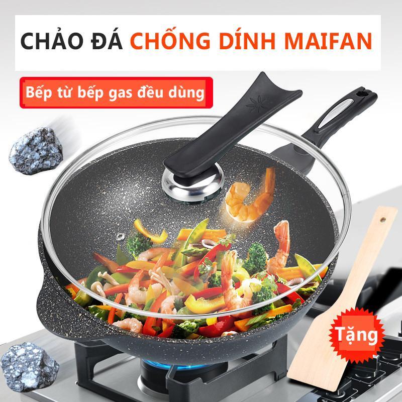 Chảo đá MAIFAN chống dính dùng cả bếp từ và bếp gas Chảo đá Hàn Quốc TopOne2020