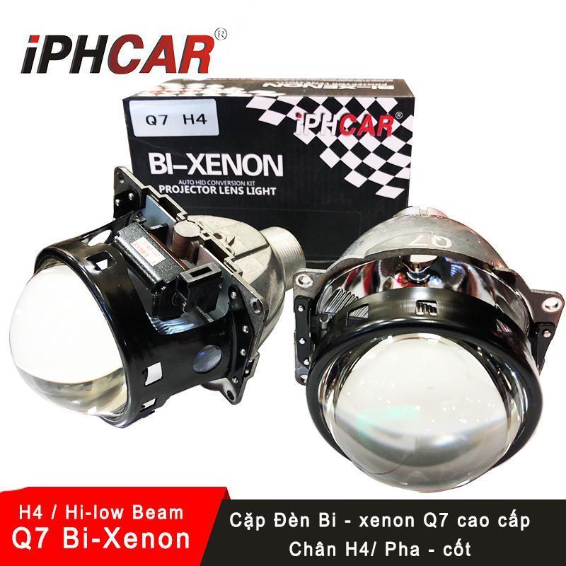 Bộ 2 đèn Bi-xenon Q7 độ pha 3 inch IPH Q7 cao cấp- có pha/cốt chân H4 (7.8cm) (BH 1 năm)