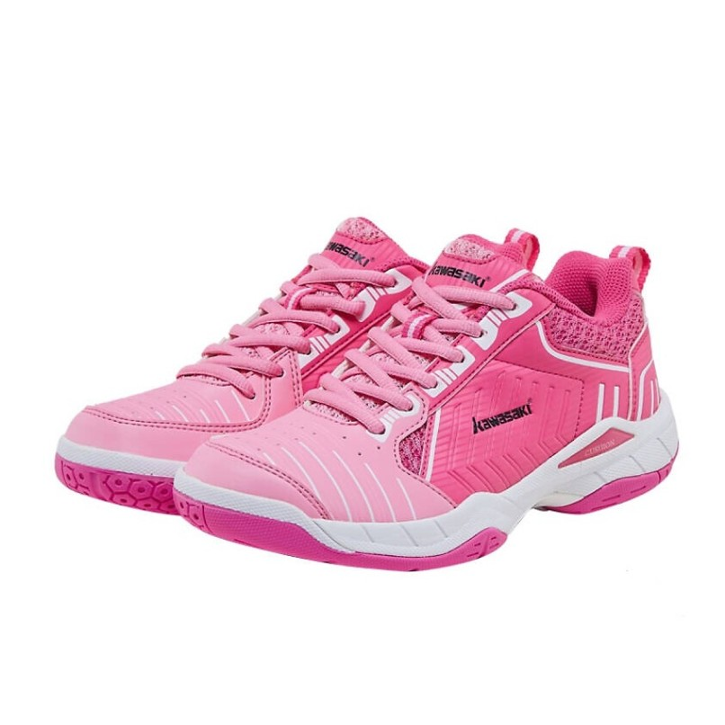 Giày thể thao nữ chuyên dụng Kawasaki K162 (Cầu lông, bóng chuyền, bóng bàn, bóng ném, bóng gỗ) Giày cầu lông nam Kawasaki K162 màu hồng, đế kép, ôm chân chuyên nghiệp,  Giày cầu lông nữ Kawasaki K162 mầu hồng cánh sen giá rẻ