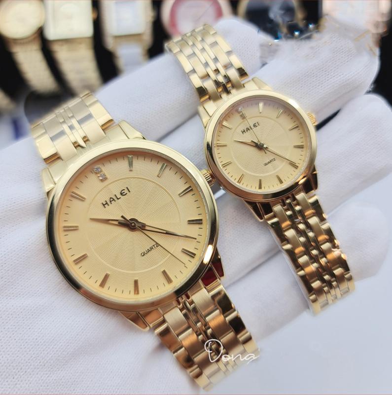 Đồng hồ nam nữ Halei máy Nhật chống nước, đồng hồ cặp mạ vàng cực hot, đa dạng sản phẩm, cam kết hàng như hình