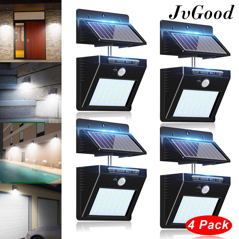 JvGood Outdoor Lighting Sensor Solar Wall light 30 LED Solar Lights with Separable Solar Panel Waterproof Solar Powered Motion Sensor Light Outside Wall Lamp for Driveway Patio Garden Path (4 Pack)